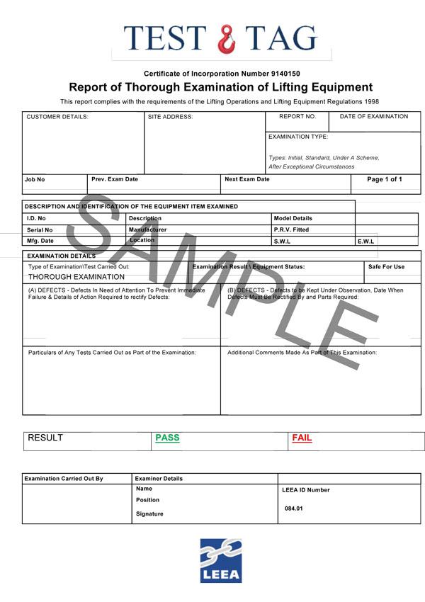 Test & Tag Ltd Sample certificate