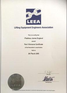 LEEA Certificate